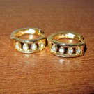 Gorgeous Gold CZ Hoop Pierced Earrings New! #D1018