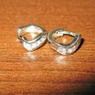 Beautiful White Gold CZ Hoop Earrings New! #D1012
