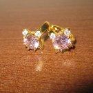 Sizzling Pink & White Sapphire Hoop Earrings New! #D1011