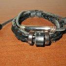 Black Leather 3 Layer Beaded Sliding Tube Bead Punk Surfer Bracelet New #D872