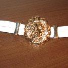 White Leather Gold Lion Charm Punk Surfer Bracelet New & Hot #D856