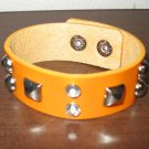 Orange Leather Rhinestone Studed Punk Surfer Bracelet HOT! #D852