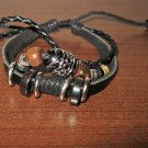 Black Leather 3 Layer Beaded Sliding Bead Punk Surfer Bracelet New & Hot #D871