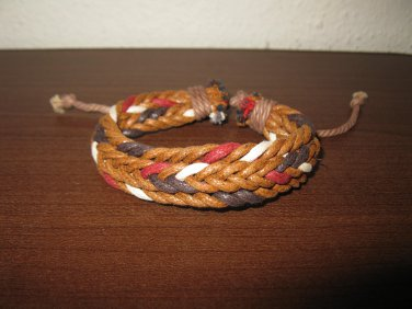 Brown & Red Multi-Colored Leather Punk Surfer Weave Bracelet New & HOT #D862