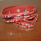 Red Leather Rhinestone 6 Layer Wrap Punk Surfer Bracelet New & Hot #D861