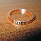 "Beautiful Gold ""Luck"" Unisex Band Ring Size 6.5 New! #D1023"