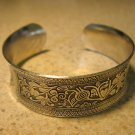 Bracelet Silver Plated Intricate Floral Carvings Cuff Bangle New #878