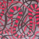Original abstract ink drawing in red black and grey The Mind