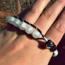 Black Leather Wrap Bracelet - Round Matte Crystal Quartz Stones