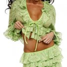 LIME SEQUINED RUFFLED SKIRT SET MED
