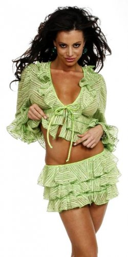 LIME SEQUINED RUFFLED SKIRT SET LG