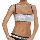 SILVER SEQUINED & BLACK SKIRT SET SMALL