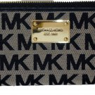 Michael Kors Beige Black Jacquard Jet Set Signature Zip Wallet