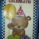 Handmade Gift Bag-Birthday Bear in Blue