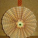 """Handmade Paper Rosette Ornament-Orange Gingham-4"""""""