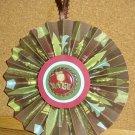 """Handmade Paper Rosette Ornament-Gingerbread Noel in Red-5"""""""