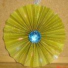 """Handmade Paper Rosette Ornament-Green Nostalgic Print-5"""""""