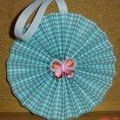 "Handmade Paper Rosette Ornament-Butterfly and Gingham-5"""