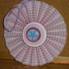 "Handmade Paper Rosette Ornament-Pink Gingham and Flower-5"""