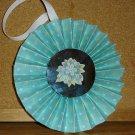 """Handmade Paper Rosette Ornament-Blue Flowers-5"""""""
