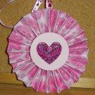 "Handmade Paper Rosette Ornament-Pink Swirly Heart-4"""