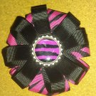 Pink Zebra Stripes Layered Hair Clip