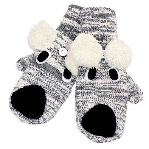 Knitted Fun 3D Animal Soft Mittens Gloves Gray Koala GL00007KO