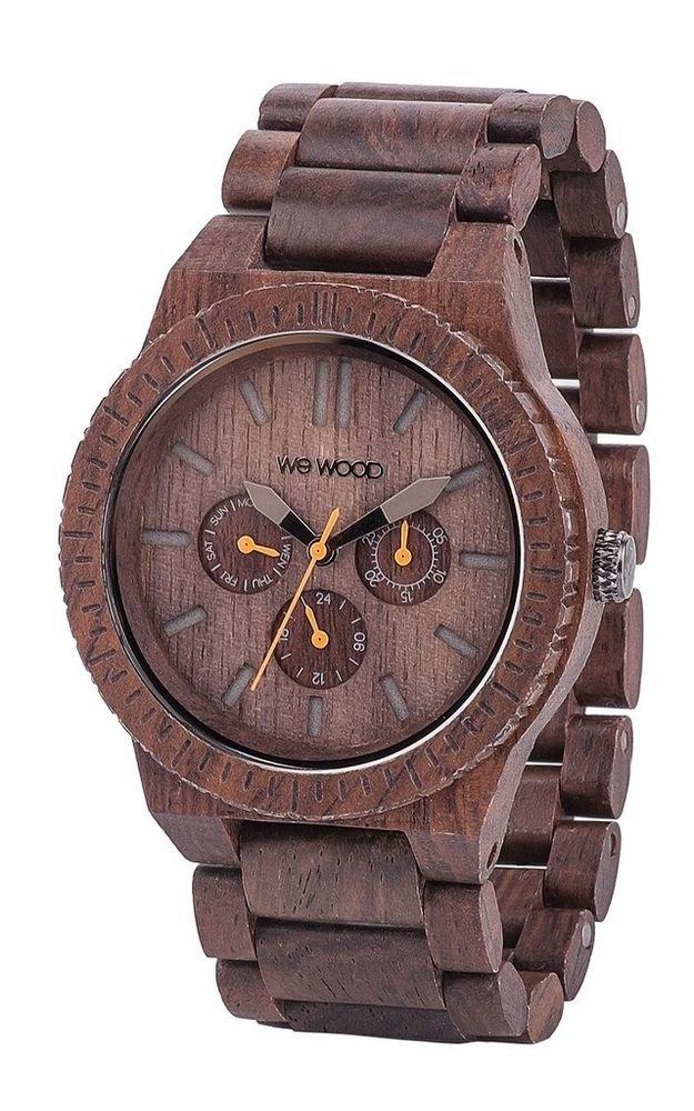 WeWOOD Kappa Chrono Chocolate/Orange Watch - Natural Wood Timepiece
