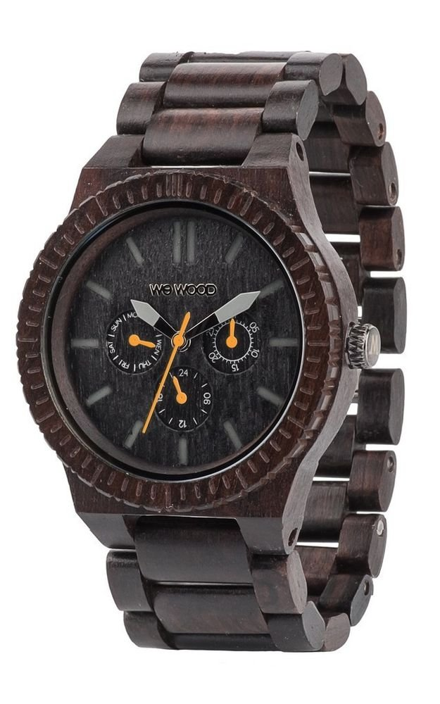 WeWOOD Kappa Chrono Black/Orange Watch - Natural Wood Timepiece