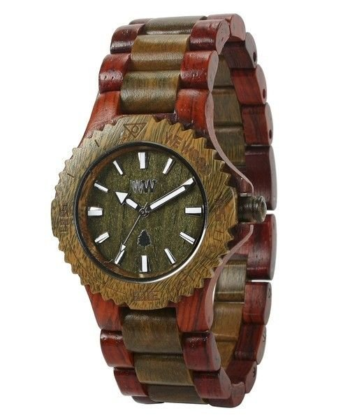 WeWOOD Date Brown/Army Watch - Natural Wood Timepiece
