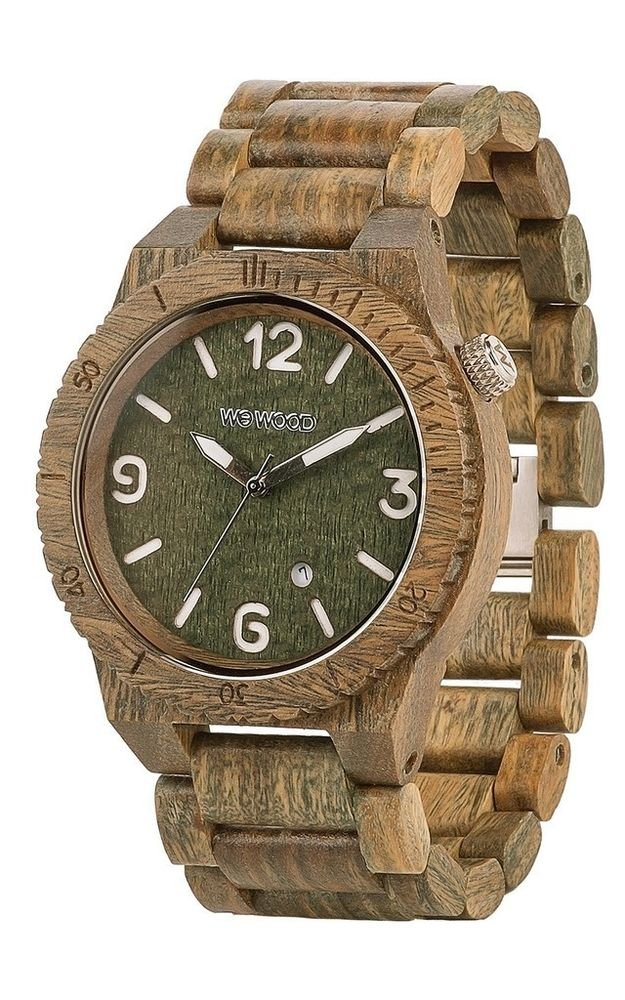 WeWOOD Alpha Army Green Watch - Natural Wood Timepiece