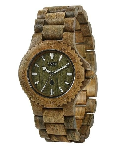 WeWOOD Date Army Green Watch - Natural Wood Timepiece