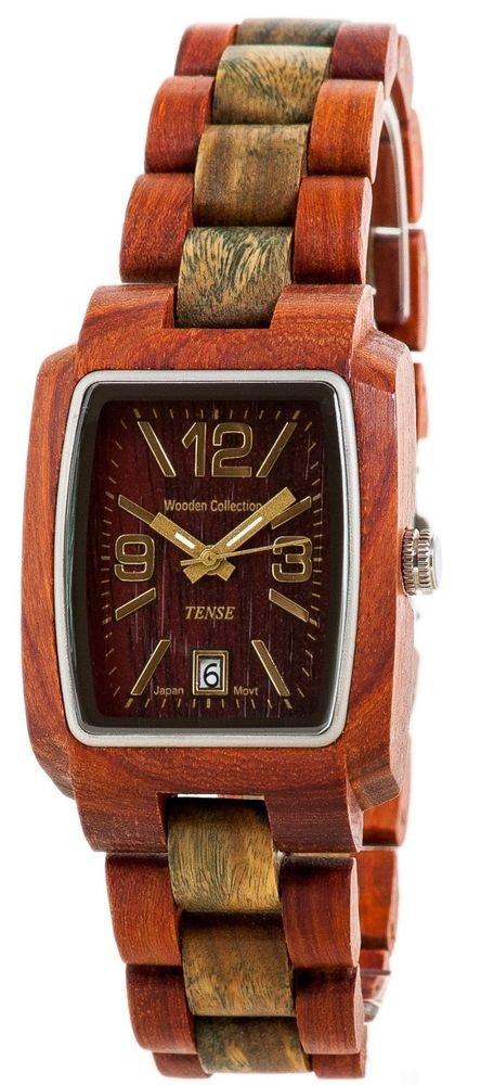 Tense Timber Sandalwood/Green Watch - Model J8102SG - Natural Wood Timepiece