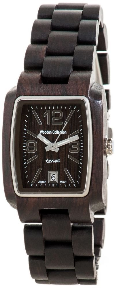 Tense Timber Dark Sandalwood Watch - Model J8102D - Natural Wood Timepiece