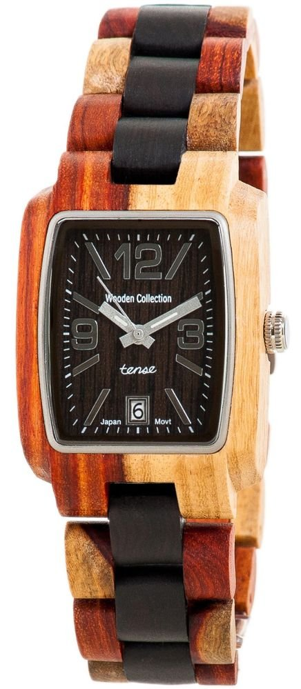 Tense Timber Dual-tone/ Dark Sandalwood Watch - J8102ID - Natural Wood Timepiece