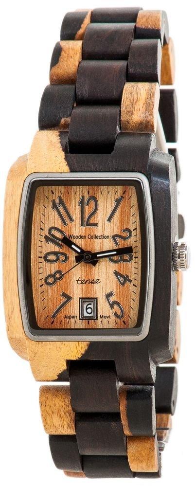 Tense Timber Dark Dual-tone Sandalwood Watch - J8102DM - Natural Wood Timepiece
