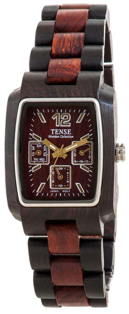 Tense Alpine Dark/Light Sandalwood Watch - Model J8302DS- Natural Wood Timepiece