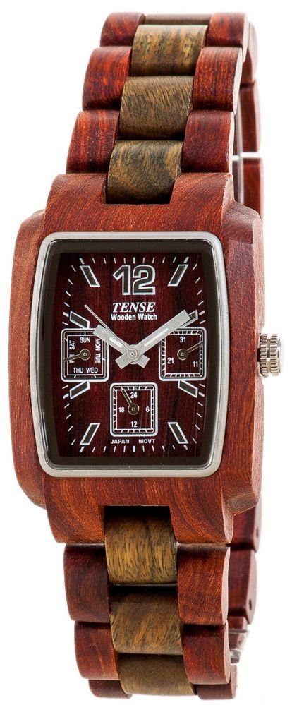 Tense Alpine Sandalwood/Green Watch - Model J8302SG - Natural Wood Timepiece
