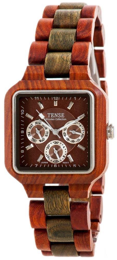 Tense Summit Sandalwood/Green Watch - Model B7305SG - Natural Wood Timepiece