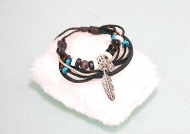 Ethnic Minorities Style Leather metal Wood beads Bracelet