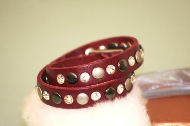 Fashion Genuine Leather Wristband Bracelet With Artificial stone metal