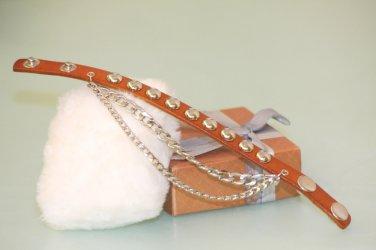 Fashion Genuine Leather Bracelet With metal Chain