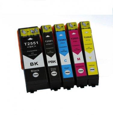 5 pcs Compatible Epson T2551 T2561 T2562 T2563 T2564 BK/PB/C/M/Y Ink Cartridge