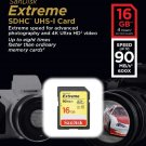 SANDISK EXTREME SDHC 16GB FLASH MEMORY CARD UHS-I U3 CLASS 10 90MB/SEC