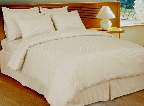 "1200TC Egyptian Cotton Extra Deep Pockets 28"" Ivory Stripe Set 4Pc Full Size"