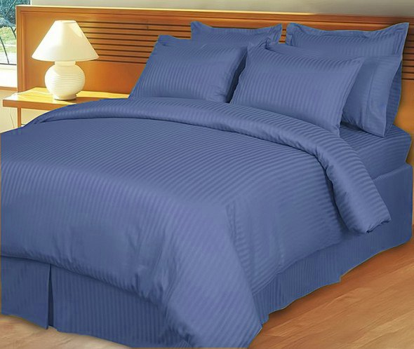 """1200TC Egyptian Cotton Extra Deep Pockets 28"""" ROYAL Stripe Set 4Pc Olympic Queen Size"""