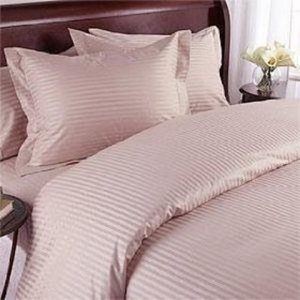 "1200TC Egyptian Cotton Extra Deep Pockets 28"" Pink Stripe Set 4Pc Olympic Queen Size"