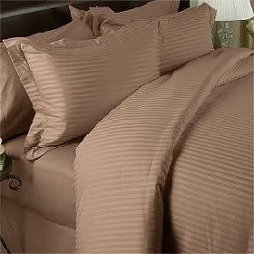 "1200TC Egyptian Cotton Extra Deep Pockets 28"" Mocha Stripe Set 4Pc Olympic Queen Size"