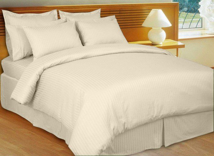 """1200TC Egyptian Cotton Extra Deep Pockets 28"""" cream Stripe Set 4Pc Olympic Queen Size"""
