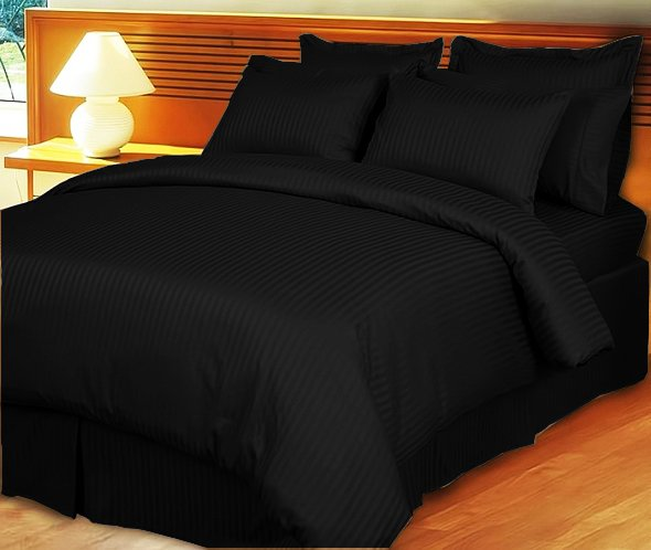 """1200TC Egyptian Cotton Extra Deep Pockets 28"""" Black Stripe Set 4Pc Olympic Queen Size"""